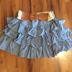 Rue 21 cute denim skirt with belt size Large.