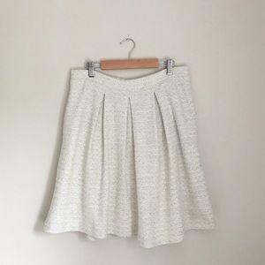 TART White Boucle Tweed Pleated Full Skirt
