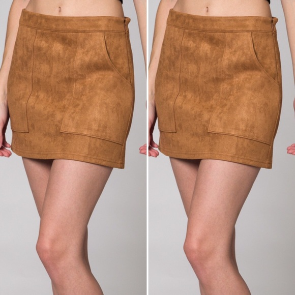 4cac30ae19 Honey Punch Skirts | Suede Mini Skirt With Pockets | Poshmark