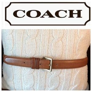 Coach Tan Leather Belt Brass Buckle 34