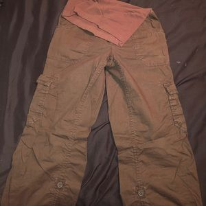 Brown maternity pants - can be rolled up to Capri