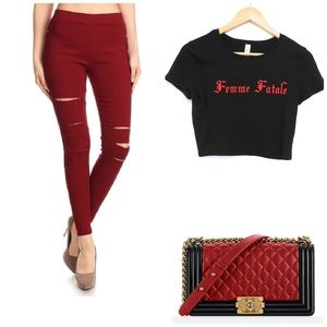 Pants - ✨New! Femme Fatale Distressed Jeggings💋