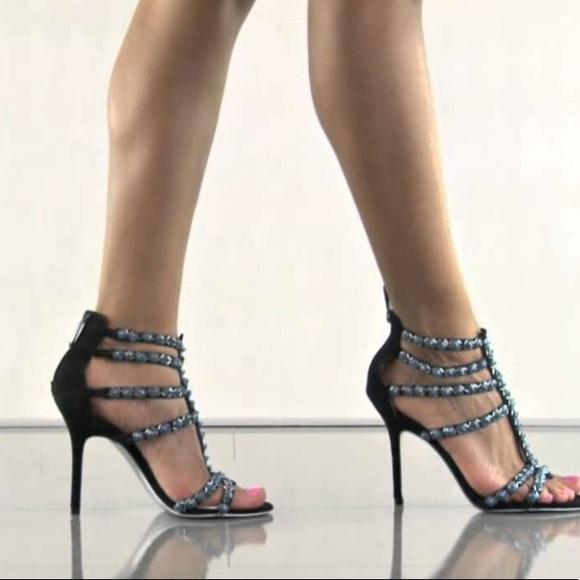 c3a25b181 SAM EDELMAN ~ Alina black suede   blue beaded heel.  M 59dbc9414e95a3745700384e