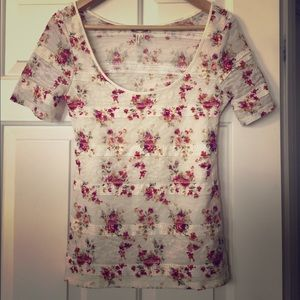 Kirra Floral Lace Multicolor Tee Shirt Small S