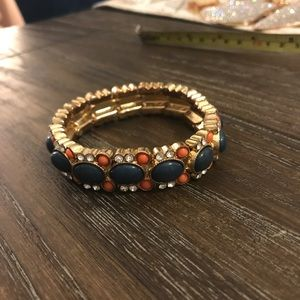 Gold Bracelet with Blue/Coral Accents