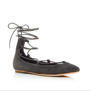 Joie Janessa Gray Lace-Up Flat