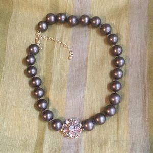 Lia Sophia Jewelry - Lia Sophia Brown Pearl Necklace with Pink Flower