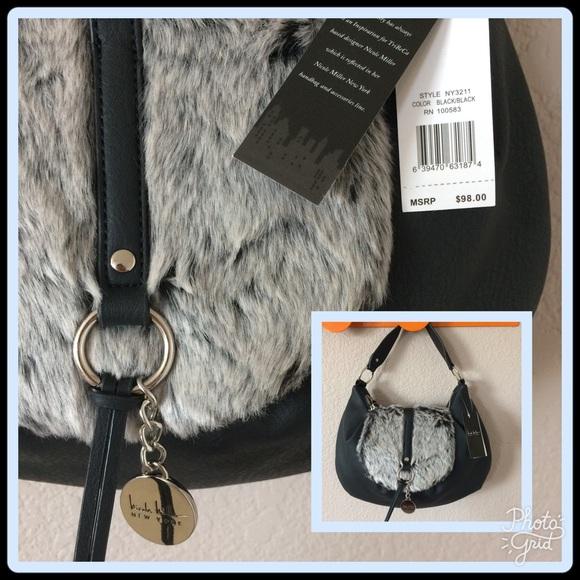 7cec0b4aee Nicole Miller furry shoulder bag