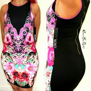 XOXO black and floral tank dress