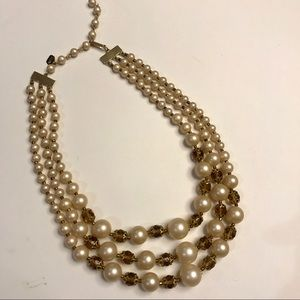 Jewelry - Judy Lee pearl and gem three stand necklace