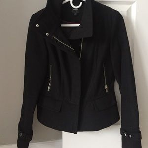 Express military style zip wool coat
