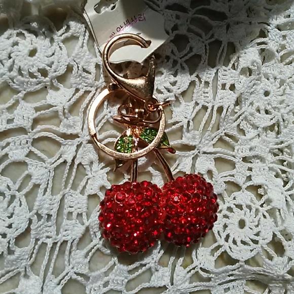 5a14c092683 Red Cherry Crystal Key Chain. Cerises Purse Charm
