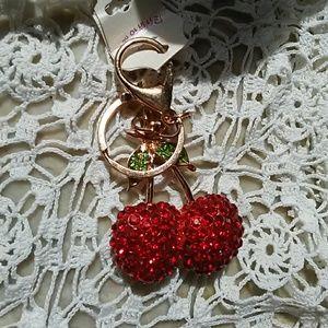 Key chain Crystals Cheries Cherry Cerises key ring