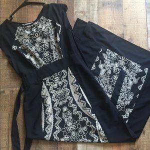 Oriental style Dress | side split | waist tie