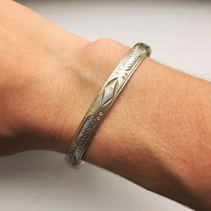 Vintage gold & silver stacking bangle bracelet
