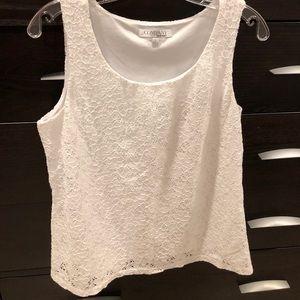 Company by Ellen Tracy white lace lined tank. Sz L
