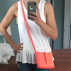 J Crew adjustable bright coral purse