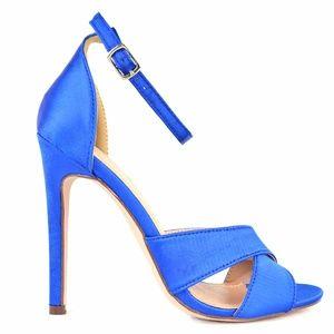 Chase & Chloe Blue Satin Women's Heeled Sandal