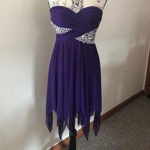 Strapless purple dress