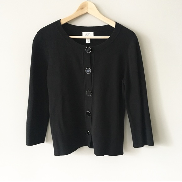 LOFT - NWOT! LOFT Heavy Large Button Black Cardigan from L's ...