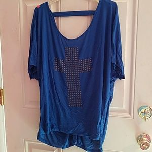 Tops - Blue Top with studded cross