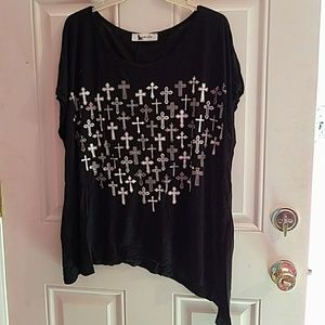 Tops - Black top with crosses