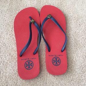 Tory Burch Navy/red flip flops - like new