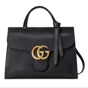 💯💝💖GUCCI Calfskin Leather GG Marmont Handle Bag