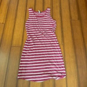 Maroon and white striped dress.