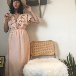 Dresses & Skirts - Vintage Embroidered Peach Maxi Dress