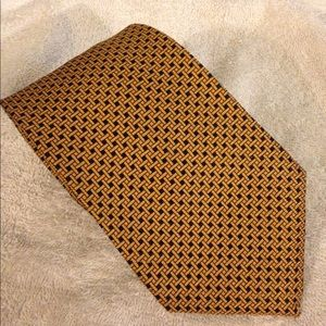 Brooks Brothers Gold & Navy Check Silk Tie