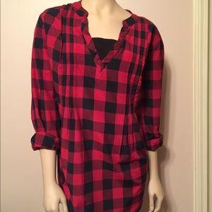 Woman Within Red Black Lumberjack Plaid Tunic Top