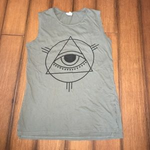 Olive green graphic tank.