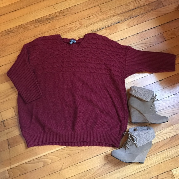 c77ccfcc922533 Express Sweaters | Burgundy Cable Knit Pullover Sweater Sz Xl | Poshmark