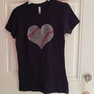 Tops - Black Tee w/ Rhinestone heart shape Baseball