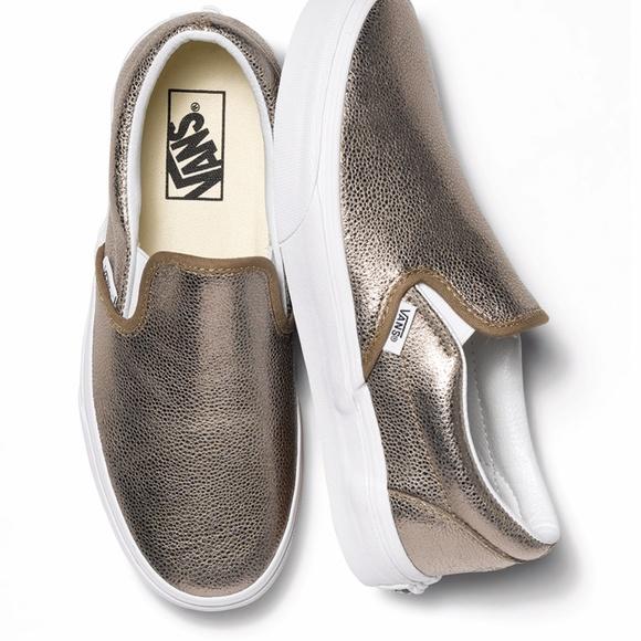 59c76fa825 Vans Shoes - Metallic Leather Slip-On Vans - Gold Bronze