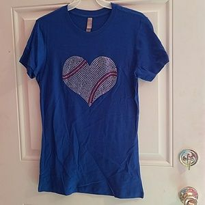 Tops - Blue Tee with Bling Baseball heart shape