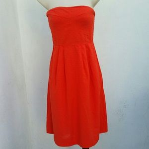 J.Crew orange textured strapless dress