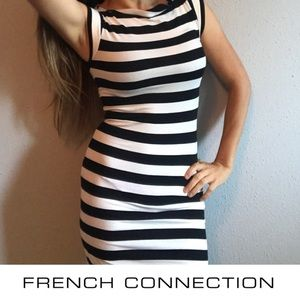 French Connection black and white strip dress