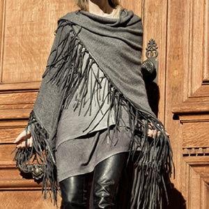 Rani Arabella NWT Black Leather Fringe Shawl