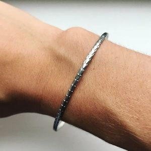 Vintage silver tribal stacking bangle bracelet