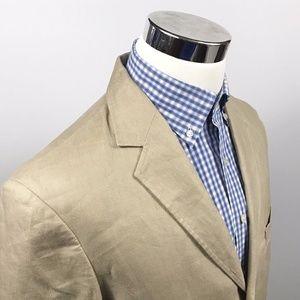 J Crew Mens 40R 100% Linen Sport Coat Beige Tan