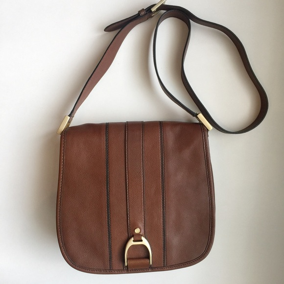 c4b7ef097d Cole Haan Handbags - Cole Haan Brown Leather Crossbody Saddle Bag