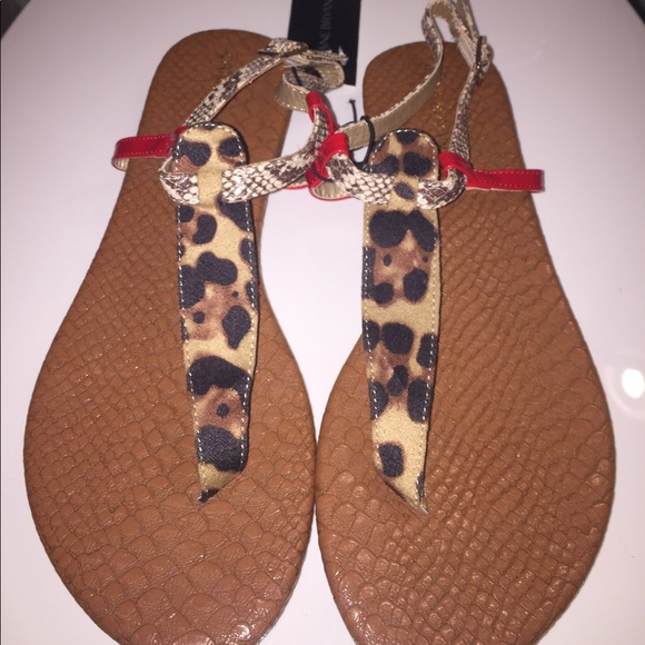 908985f9f Lane Bryant Animal Print T-Strap Sandals (Sz 7)