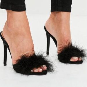 Missguided Black Feather Heels - 5