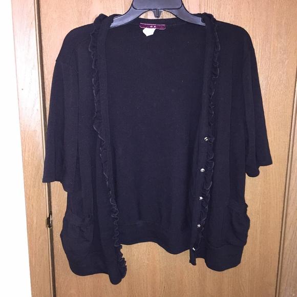 Black short-sleeved cardigan w/ rhinestone buttons 3X from ...