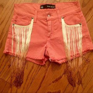 Festival shorts with fringes NWOT size 24