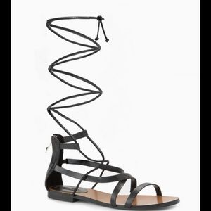 MNG Black Lace-Up Gladiator Sandals 38/7.5