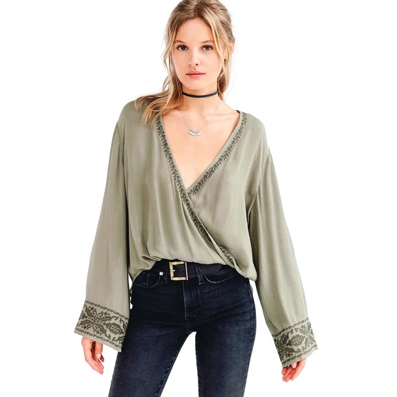 9fd73ee19b Urban Outfitters Tops | Hpuo Ecote Embroidered Surplice Blouse ...