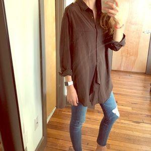 VINCE military style blouse button shirt size L